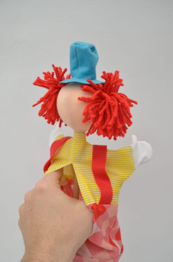 """clown """"Hugo"""" stokpop achterkant"""
