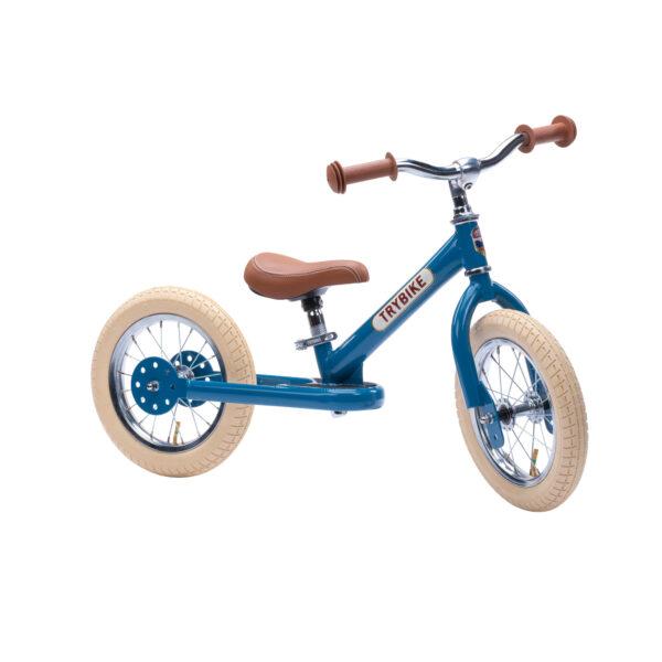 Trybike Vintage Blauw 2-in-1 Loopfiets tweewieler zijkant