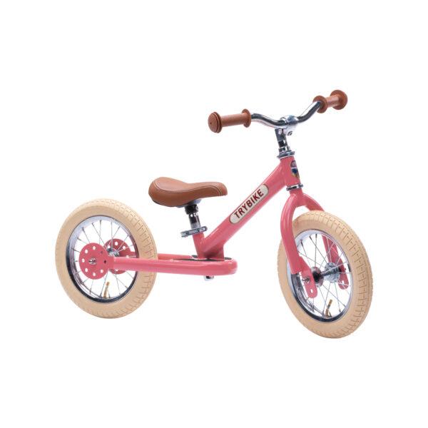 Trybike Vintage Roze 2-in-1 Loopfiets tweewieler zijkant