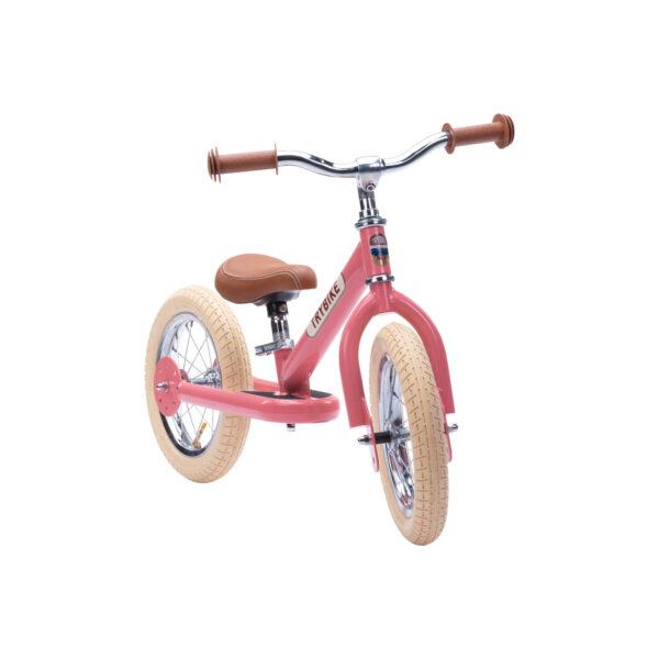 Trybike Vintage Roze 2-in-1 Loopfiets voorkant tweewieler