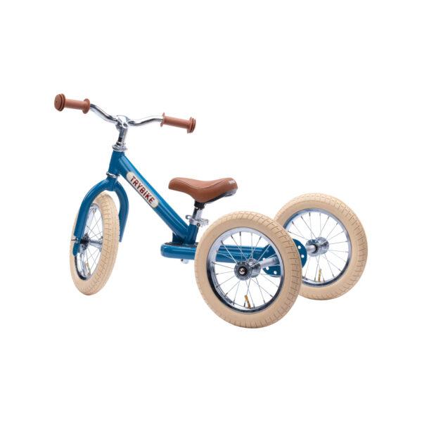 Trybike Vintage Blauw 2-in-1 Loopfiets zijkant