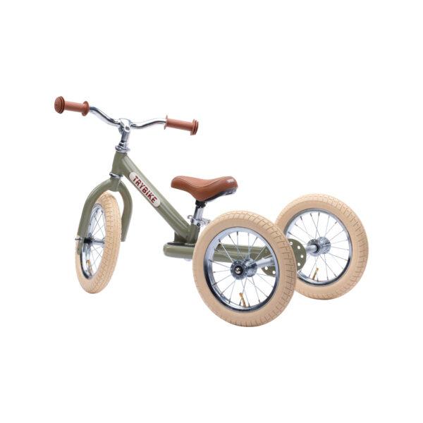 TBS3 vintage groen, classic vintage driewieler zijkant