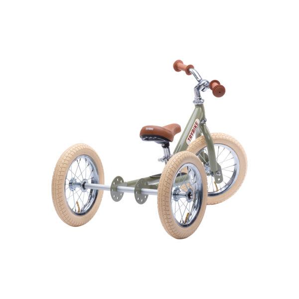 TBS3 vintage groen, classic vintage driewieler achterkant
