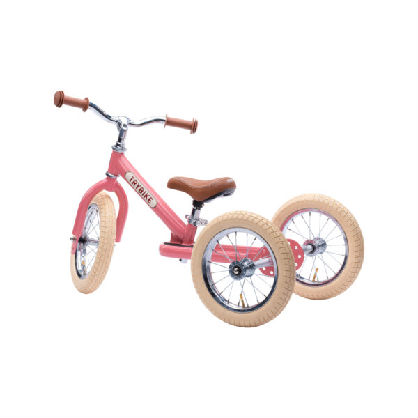 Trybike Vintage Roze 2-in-1 Loopfiets driewieler zijkant
