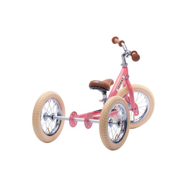 Trybike Vintage Roze 2-in-1 Loopfiets driewieler achterkant