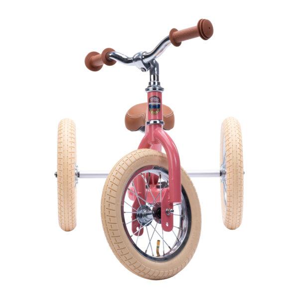 Trybike Vintage Roze 2-in-1 Loopfiets driewieler voorkant