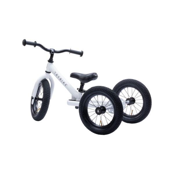 Trybike Vintage wit 2-in-1 Loopfiets driewieler zijkant