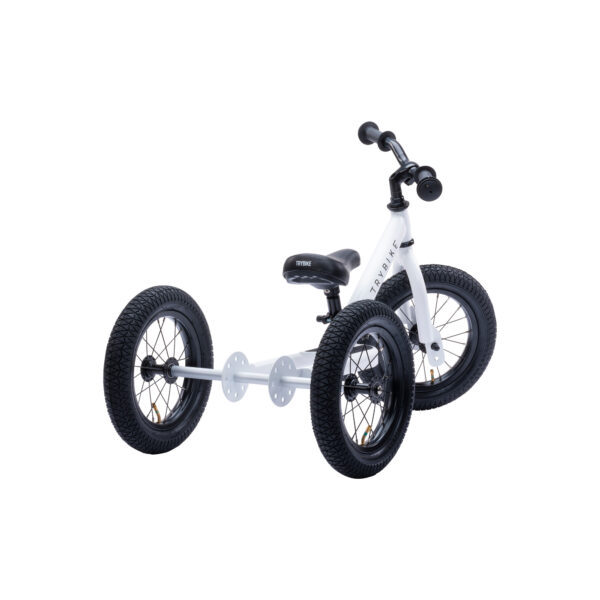 Trybike Vintage wit 2-in-1 Loopfiets driewieler achterkant