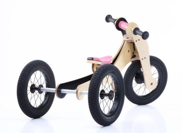 Trybike 4-in-1 loopfiets hout roze driewieler achterkant