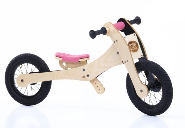 Trybike 4-in-1 loopfiets hout roze tweewieler laag zijkant