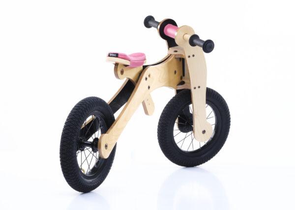 Trybike 4-in-1 loopfiets hout roze tweewieler hoog zijkant
