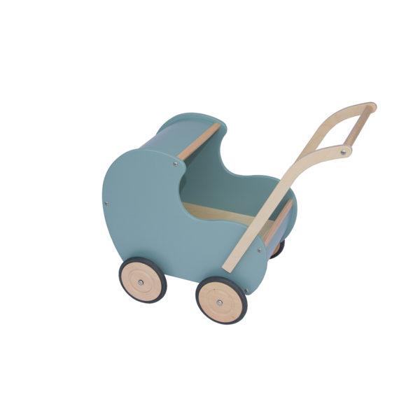blauwe vintage poppenwagen