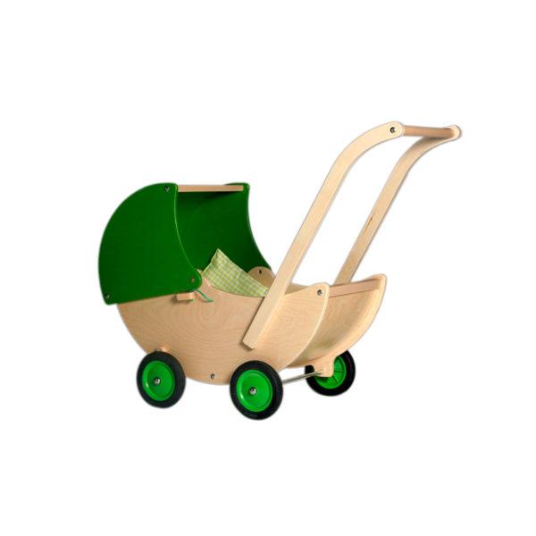 groene poppenwagen met verstelbare kap