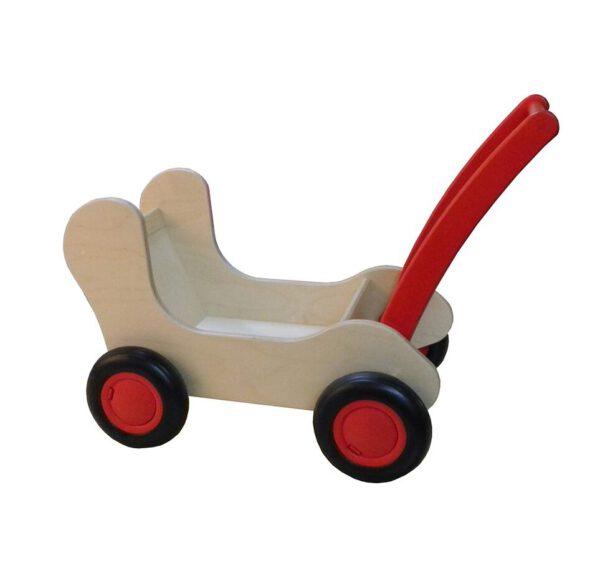 Combinatie van loop- en poppenwagen Een combinatie tussen een loopwagen en een poppenwagen. Deze prachtige combiwagen is uniek in zijn soort! Samen met je liefste pop of beer doet je kind hiermee de eerste stapjes. Als het wat groter is kan de handgreep verstelt worden en heb je een prachtige combiwagen. Gemaakt van de hoogste kwaliteit Berken Multiplex